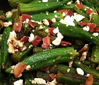 Okra with Gorgonzola Cheese and Bacon